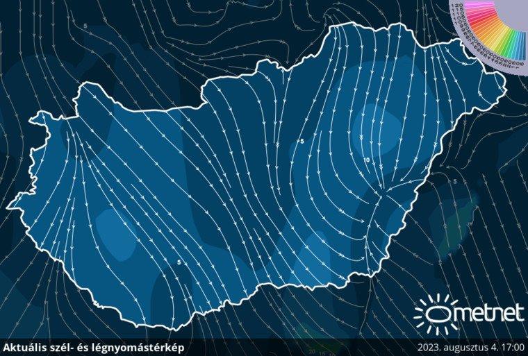 Szél és légnyomás térkép